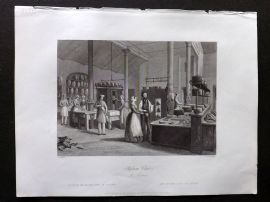 London Interiors 1841 Antique Print. Reform Club, The Kitchen